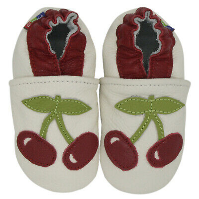 carozoo cherry white 12-18m soft sole leather baby shoes