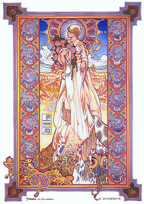 CELTIC IRISH FANTASY ART PRINT NIGHTLIGHT 16x11 By Jim FitzPatrick