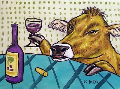 COW art PRINT - wine art - gift for wine lover - 8x10 animal art -modern folk