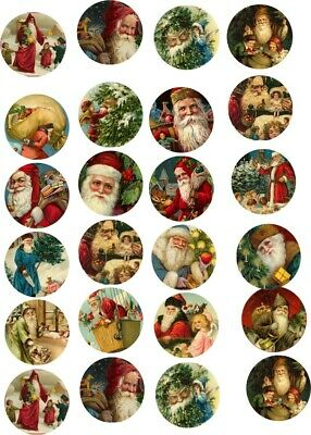 "Christmas 24 1.5"" round bottle cap vintage pictures scrap booking crafts"