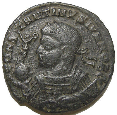 Constantine II son of Constantine The Great AE3 Bust left holding Victory Globe