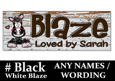 BLACK with WHITE BLAZE HORSE PONY cartoon name Sign Plaque Stable door tack room