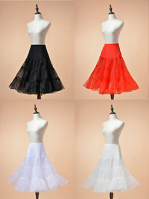 "50s Vintage Swing Skirt Petticoat 26"" Tea Length Rockabilly Crinoline Underskirt"