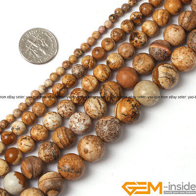 "Natural Picture Jasper Gemstone Round Beads For Jewelry Making 15"" 4mm 6mm 8mm"