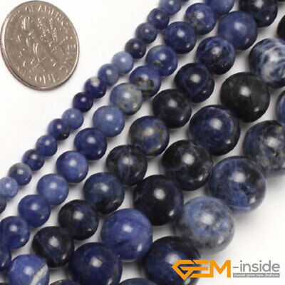 "Natural Stone Sodalite Jasper Round Beads For Jewelry Making 15""4mm 6mm 8mm 10mm"