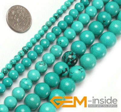 Blue Natural Turquoise Gemstone Round Loose Spacer Beads For Jewelry Making 15""