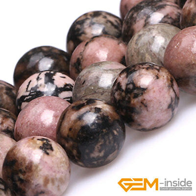 "Natural Black Rhodonite Gemstone Round Beads For Jewelry Making 15"" 6mm 8mm 10mm"