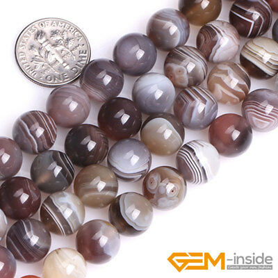 Natural Botswana Agate Gemstone Round Spacer Loose Beads For Jewelry Making 15""