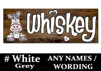 White Grey HORSE PONY cartoon name Sign Plaque Stable door tack room bridle gift