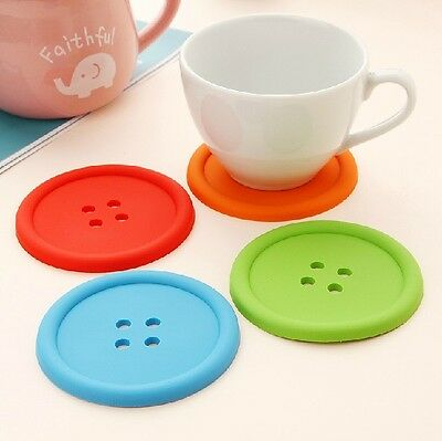 New BUTTON COASTERS Drink Drinks Placemat Mat Glass Glasses sillicon