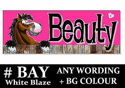 BAY white Blaze HORSE PONY cartoon name Sign Plaque Stable door tack room gift*