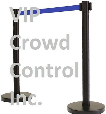 "Retractable Belt Stanchion, 40"" Tuff Tux Black 78"" Dark Blue Belt (Vip Version)"
