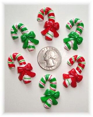 6PC CHRISTMAS PEPPERMINT CANDY CANE RED RESINS FLATBACK 4 HAIRBOW BOW CENTER