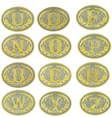Initial Letters Western Style Cowboy Rodeo Gold Tone Oval Belt Buckles (A-Z)