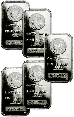 Lot of 5 - 1 Troy Oz Silver Bars .999 Fine - Morgan Dollar Design Bar SKU29507