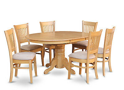 7PC OVAL DINETTE KITCHEN DINING ROOM SET TABLE w/ 6 UPHOLSTERED CHAIRS LIGHT OAK