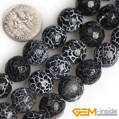 Black Dream Fire Dragon Veins Agate Faceted Round Beads For Jewelry Making 15""