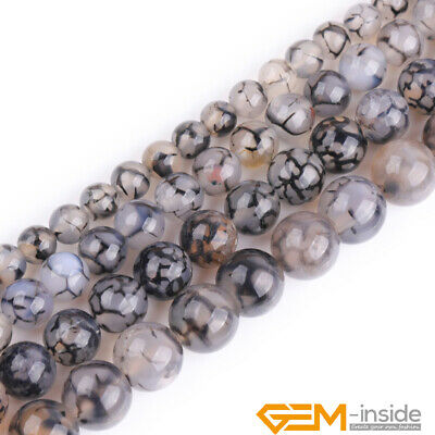 """Black Dragon Veins Agate Gemstone Round Loose Beads For Jewelry Making 15""""Strand"""