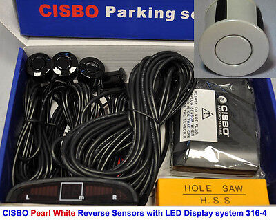 CISBO Pearl White Colour Reverse Parking 4 Sensor Audio Buzzer Alarm LED Display