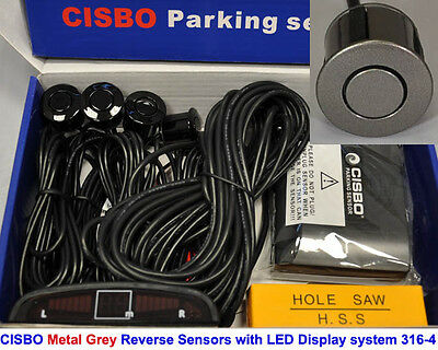 Metal CISBO Grey Colour Reverse Parking 4 Sensor Kit  Buzzer Alarm LED Display