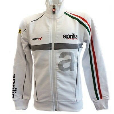 New Official Aprilia Team White Kids Zip Up Fleece