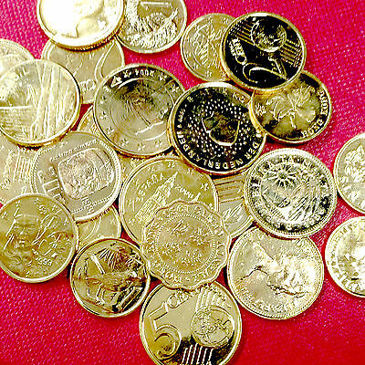 ONE (1) POUND Lb. BAG SHINY GOLD CLAD WORLD COINS FOREIGN COIN LOT COLLECT WIN