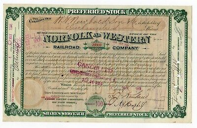 1888 Norfolk and Western Railroad Company Stock Certificate