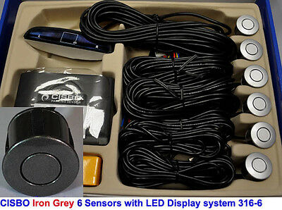 Iron Grey Front Reverse Parking 6 Sensor Kit with Audio Buzzer Alarm LED Display