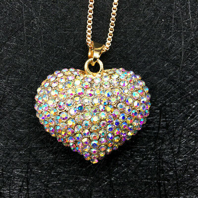 Gold Plated AB Rhinestone Lovely 3D Love Heart Pendant Chain Sweater Necklace