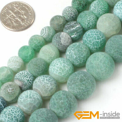 """Natural Green Dream Fire Crackle Agate Frost Round Beads For Jewelry Making 15"""""""