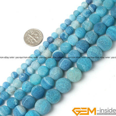 """Natural Blue Dream Fire Dragon Veins Agate Round Beads For Jewelry Making 15"""""""