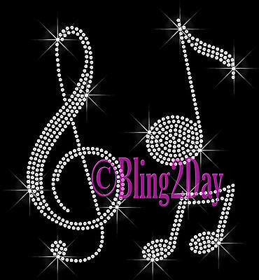 Music Notes - Iron on Rhinestone Transfer Hot Fix Bling - Clef Note Band School