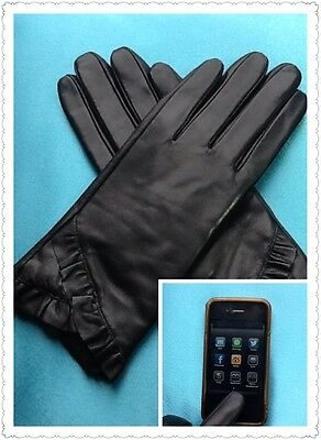 New Lady Ultra Soft Genuine Leather Touch  Screen Driving Gloves Black S M L XL
