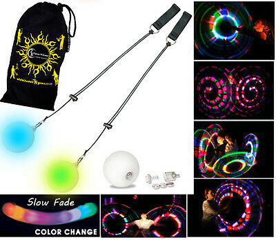 Flames N Games Pro LED Glow Poi + BAG (Slow Fade) Poi Spinning, Juggling, Circus