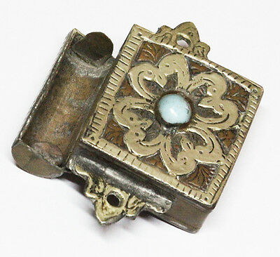 Rare brass silvered prayer book holder Case Morocco Tunisia Ca 1800 with stone