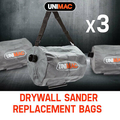 NEW 3x Unimac Drywall Sander Bags Replacement Vacuum Cleaner Wall Plaster Board