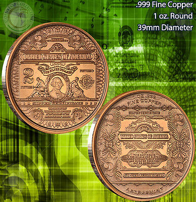 """$2 George Washington Banknote"" 1 oz .999 Copper Round part of Banknote series"