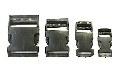 20mm 25mm 40mm 50mm Black Plastic Side-Release Buckles For Webbing Bags Straps