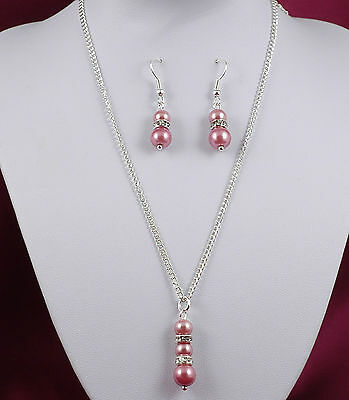 Bridesmaid Flower Girl Necklace & Earring Set Any Colour Glass Pearl & Diamante