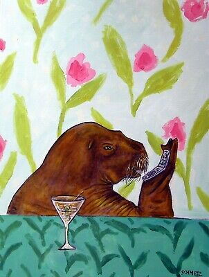 WALRUS TALKING ON A CELL PHONE art print 8x10 poster