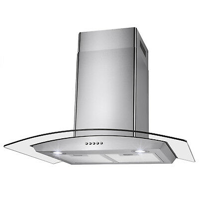 "30"" Wall Mount Stainless Steel Push Button Control Kitchen Cooking Range Hood"