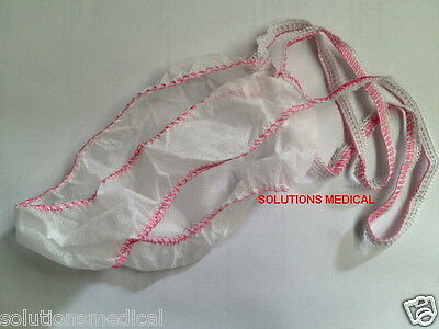 DISPOSABLE LADIES WHITE- PINK G-STRING UNDERWEAR (10/Pkt) DISPOSABLE PANTIES (S)