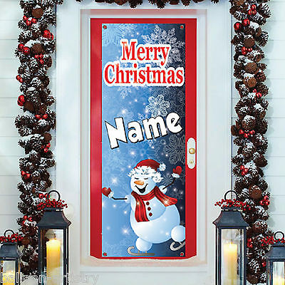 6ft Christmas Personalised SNOWMAN PVC Plastic Door Poster Banner Decoration