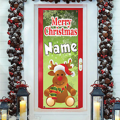 6ft Christmas Personalised Rudolph REINDEER PVC Plastic Door Banner Decoration