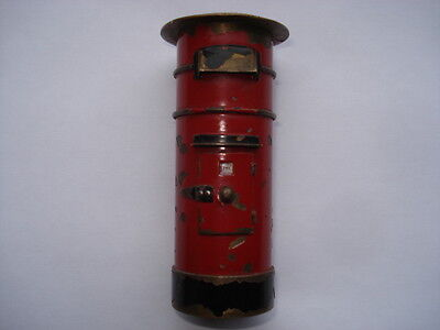 Scarce Edwardian Vintage Model Of A Pillar/post Box Desk Paperweight Nib Holder