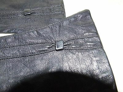 """Pair 1950s Size 6 Black Pinched Kid Leather Gloves 9 1/4"""" long Grey Silk Lining"""