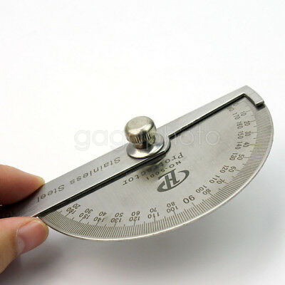Student Stainless Steel Round Head Rotary Protractor Angle Ruler Measuring Tool
