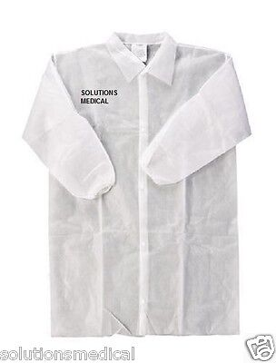 Lab Coat Protective Disposable Dust Coat X 5 White