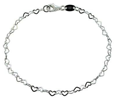 "6.75/"" Sterling Silver 7x6mm Love Heart Shape link Child Sm Adult Charm Bracelet"