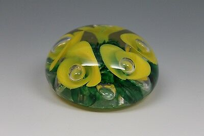 JOE ST CLAIR PAPERWEIGHT YELLOW FLOWERS W AIR BUBBLES